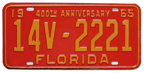 Vintage Florida 1965 Marion County License Plate, 2221, DMV Clear, Unused