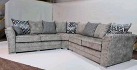 Grey chenille Fabric 5 Seater corner Sofa New free local delivery