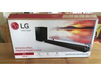 LG 100 WATT SOUNDBAR AND SUBWOOFER, BOXED, VIRTUALLY NEW SOUND BAR