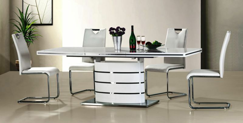 the dining table is complete with a beautiful white high gloss finish practical and versatile the high gloss dining table is extended to 220cm. beautiful ideas. Home Design Ideas