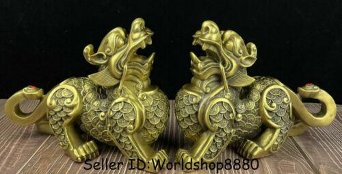 "10.4"" Chinese Copper Brass Folk Fengshui Coins Pixiu Beast Wealth Pair Statue"