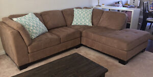 Oakdale light brown microfiber sectional couch