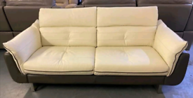 Dfs leather 3 seater sofa with adjustable headrests