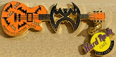Halloween Salt Lake City (Hard Rock Cafe SALT LAKE CITY 2002 HALLOWEEN PIN Cutout BAT Guitar - HRC)