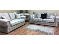 **GOING OUT QUICK** BRAND NEW ANCONA CRUSHED VELVET CORNER SOFA OR 3+2 FAST DELIVERY