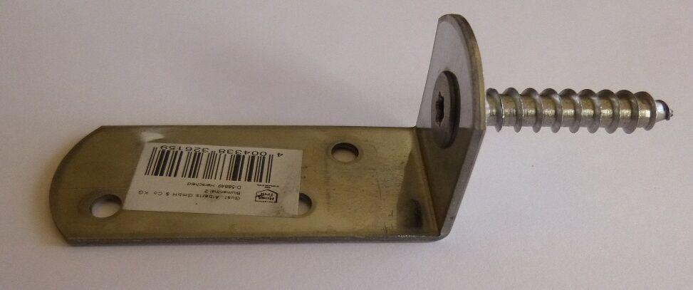 Winkelbeschlag Flechtzaunhalter L-Form Edelstahl A2 verlängert *Zaunriegelhalter