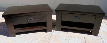 2x Low Wooden 1drawer Lamp Table / Side Table / Bedside Tables