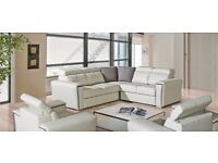 TROPICANA - Luxurious corner sofa-bed in leather upholstery. Delivery available