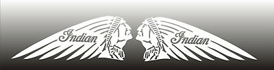 """Indian Motorcycle Head Chief Scout Decal set of 2 mirrored 11"""" x 4.5"""" each white"""