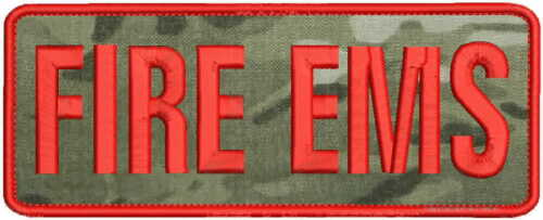 Fire Ems embroidery patch 3x8 hook on back red