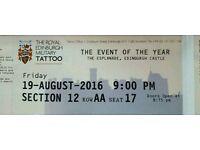 TONIGHT Edinburgh military tattoo ticket