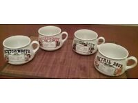 Vintage Set Of 4 Soup Mugs ,Oxtail Soup,Chicken Soup,Scotch Broth and Onion Soup Made In Japan