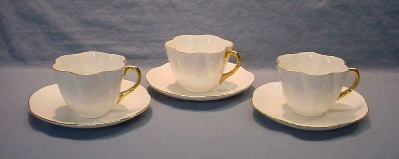 3 Shelley Dainty White Teacups & Saucers