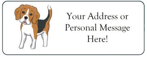 60 Personalized Cute Beagle Dog Return Address Labels
