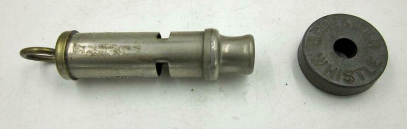 VINTAGE NICKEL-PLATED MUNICIPAL POLICE WHISTLE & SCREAMER WHISTLE