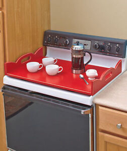 Wooden Stove Top Cover-Red/Black, New