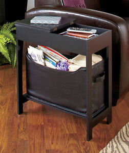 Side Storage Table with Bin, New
