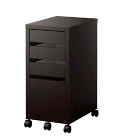 Black Micke IKEA Drawer unit with drop-file storage on castor wheels