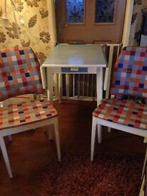RETRO 1950's BLUE FORMICA DROP LEAF TABLE & 2 MATCHING CHAIRS UPCYCLED & READY FOR NEW HOME