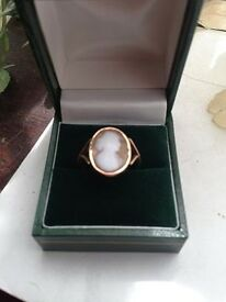 Beautiful Victorian 9ct Rose Gold Cameo Ring Size P