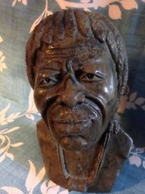 """African Verdite Tribal Head Carving Shona Stone Sculpture From Zimbabwe-South Africa Height 7 1/2"""""""