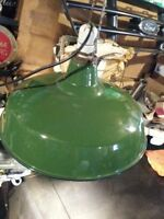 antique green enamel industrial light in excellent condition