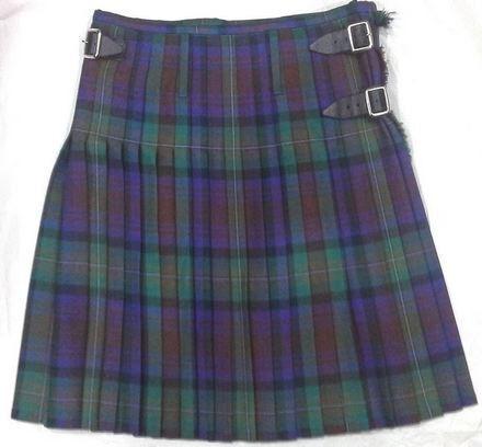 """KILT (Gents dress kilt) 32 / 34"""" waist, Isle of Skye Tartan, matching purple SOCKS+ green FLASHES"""