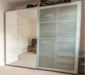 IKEA 200x66x201cm sliding door wardrobe (glass/mirror) with built-in chest of drawers