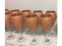 Rose gold glitter wine glasses