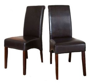 2 Pack Dark Brown Faux Leather Parson Dining Chair