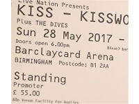 Kiss Tickets x 2 for Birmingham 28th May Sunday