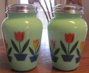 Green Glass Salt and Pepper Shakers