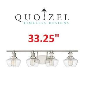 NEW QUOIZEL 4 LIGHT VANITY FIXTURE STW8604BN 199792953 BATHROOM LIGHTING BRUSHED NICKEL 33.25""