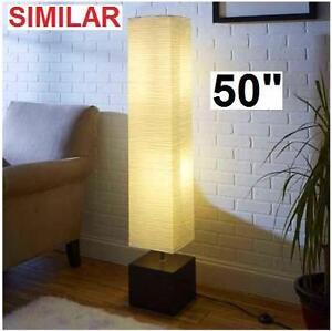 "NEW ADESSO SEBU FLOOR LAMP 50"" Home Improvement  Lamps  Light Fixtures Bamboo Base Linen Shade 101216003"