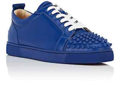 100% AUTH NEW MEN CHRISTIAN LOUBOUTIN JUNIOR SPIKE BLUE SNEAKERS EU 41.5/US 8.5