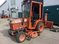 Kubota B1550 Compact Tractor with Cab, Mower, and