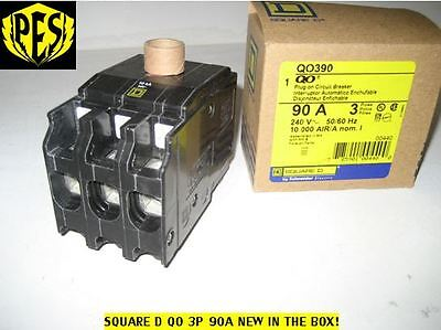 New In Box Square D Qo390 3 Pole 90 Amp Circuit Breaker - Qo Plug In 3 Phase