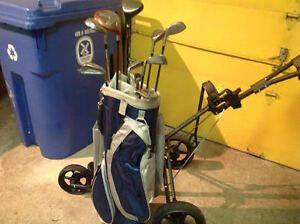 Golf Cart, Bag & Assorted Clubs- LADIES RIGHT HAND