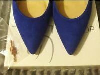 Royal Blue Suede High Heel Shoes