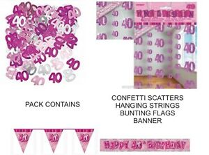 40th birthday party decorations pack pink banner flags for 40th birthday decoration packs