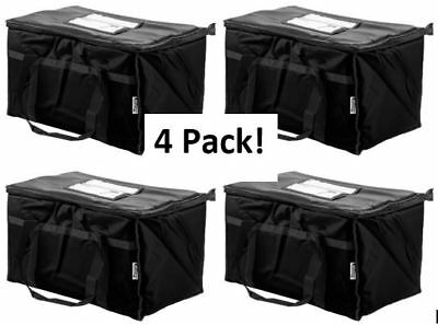 4 Pack Insulated Food Delivery Bag Pan Carrier Black Nylon 23 X 13 X 15
