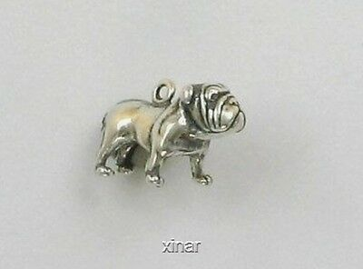 925 Sterling Silver 3-D Bull Dog Charm, Cats & Dogs Theme