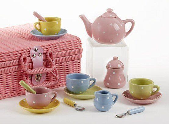 Delton Children's Porcelain Tea Set for 4-Medium Size-Multi