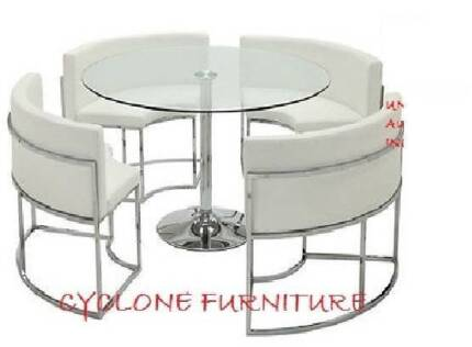 new Hideaway dining table set black or white chairs & dining tabl