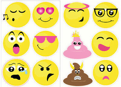 Big Emoji Stickers (EMOJI wall stickers 12 big decals teen decor phone text faces EMOTICON 6