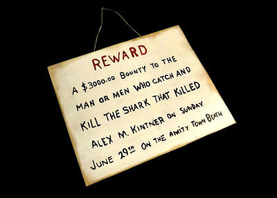 Jaws Alex Kintner 3 000 Dollar Reward Handmade Wooden Sign Prop