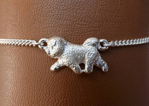 Small Sterling Silver Bichon Frise Moving Study Anklet