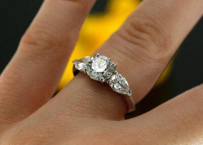 2.50 Ct Round Cut White Diamond Engagement Ring 3-stone Design 30 Days Exchange