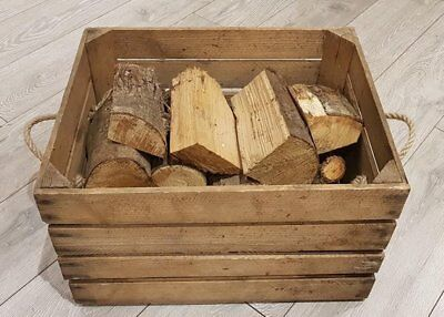 OLD WOODEN APPLE CRATE WITH ROPE HANDLES - HAMPER / CARRIER / STORAGE BOX