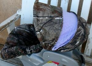 realtree camo and light purple minky infant car seat cover and hood cover. Black Bedroom Furniture Sets. Home Design Ideas